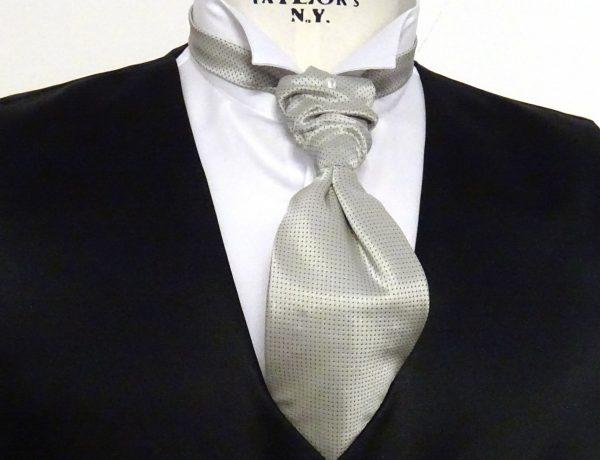 Plastron seta grigio perla con pois