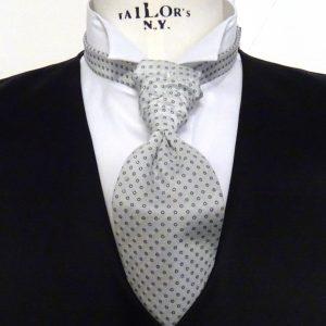 Plastron seta grigio perla con tondino