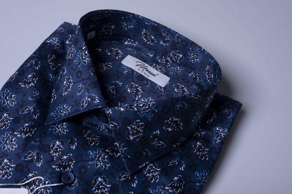 Camicia fantasia-fiori-blu-azzurri-bianchi
