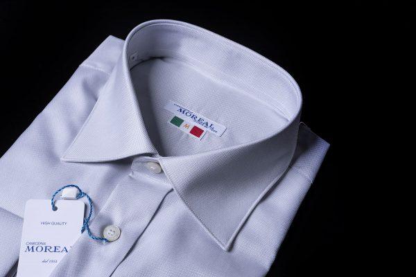 camicia con polso da gemello operata grigia