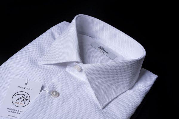 Camicia polso-semplice-operato-bianca