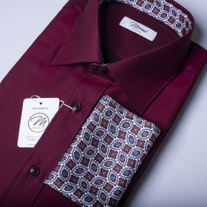 Camicia twillino-bordeaux