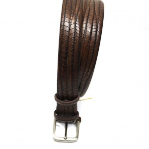 Cintura pelle operata cognac sc