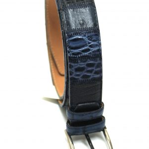 Cintura pelle patch blu