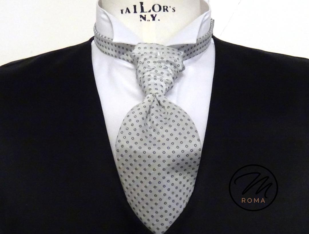 Plastron seta grigio perla con tondino1