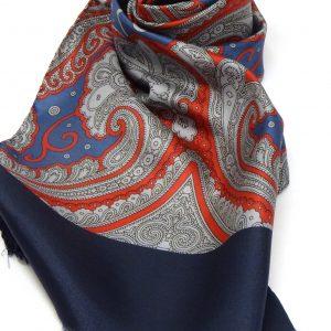 Sciarpa seta fantasia blu grigio rosso