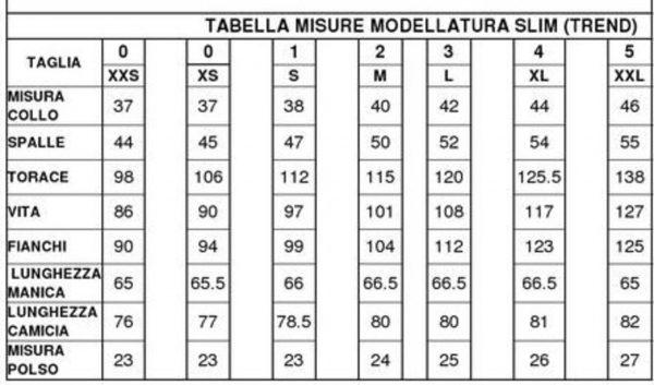 tabella misure slim V moreal roma
