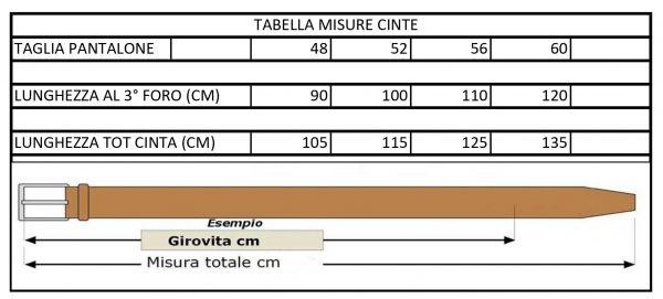 Tabella misure cinte Moreal roma