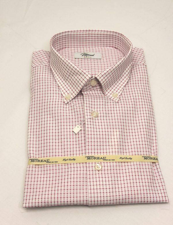Camicia bianca quadretto rosa intenso