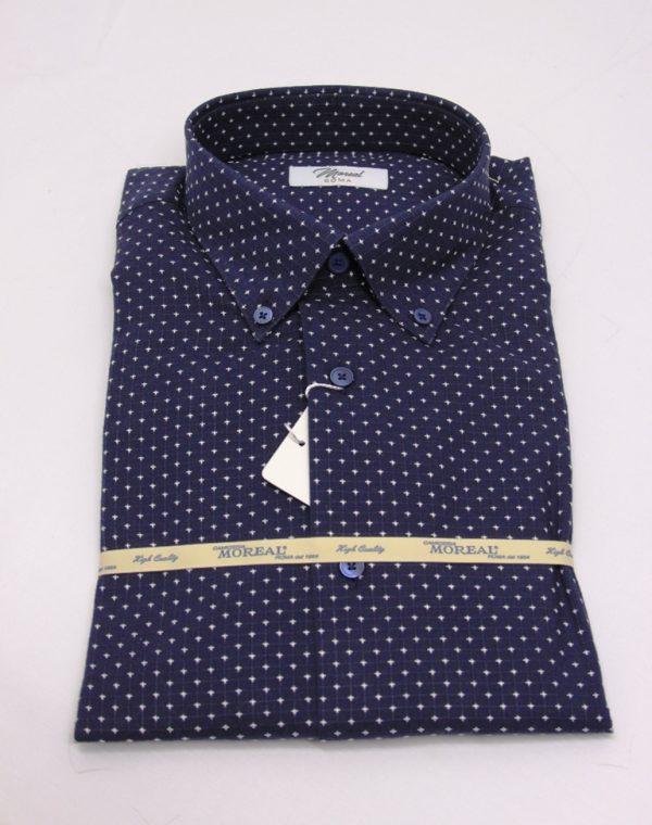 Camicia blu con crocetta bianca