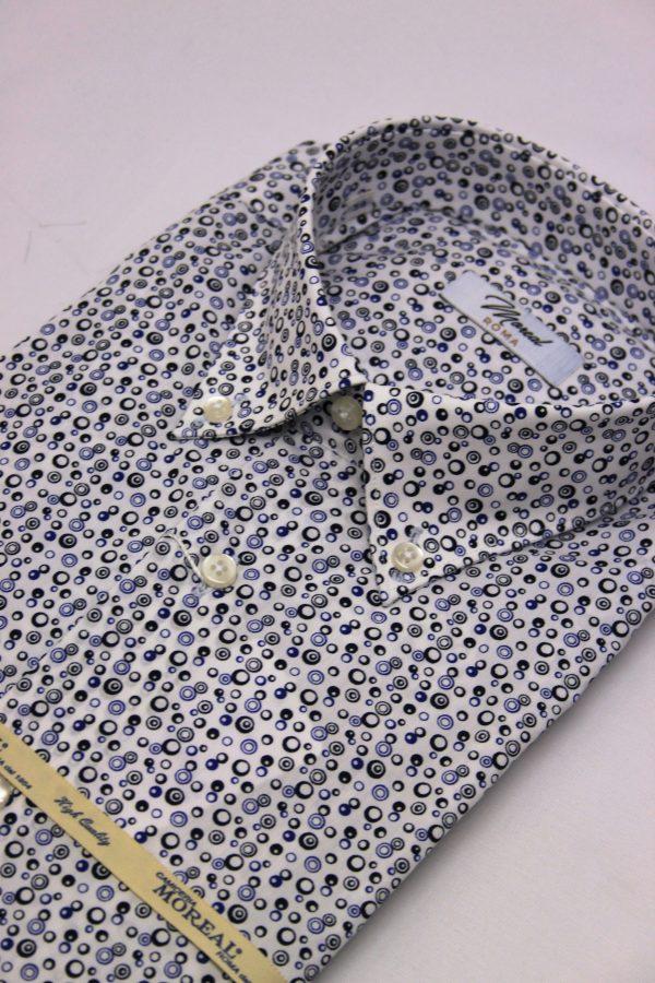 Camicia fantasia cerchi blu e neri