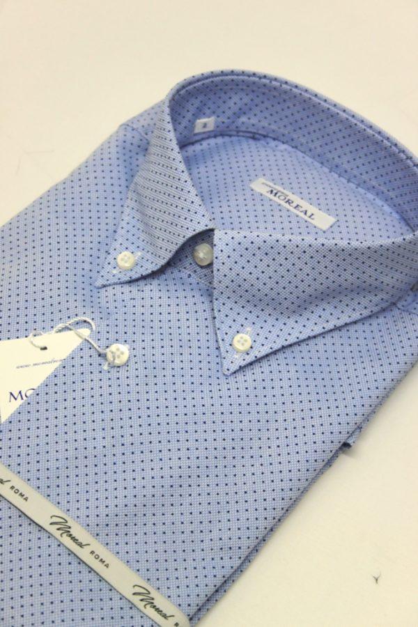 Camicia oxford celeste puntino blu 1