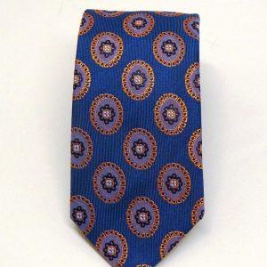 Cravatta seta azzurra rosoni viola
