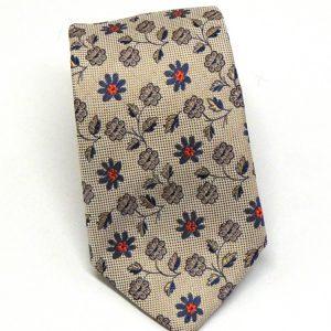 Cravatta seta beige con fiorellini blu 1