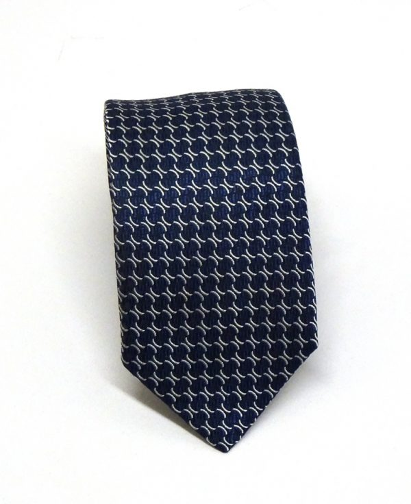 Cravatta seta blu disegno classico 1