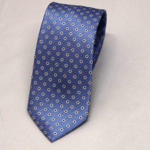 Cravatta seta celeste fiorellini bianchi 1