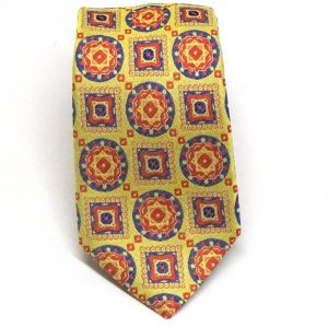 Cravatta seta cotone gialla fantasia