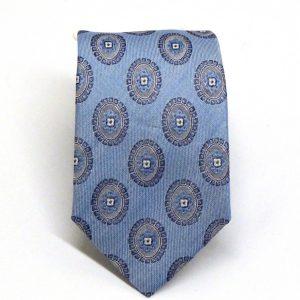 Cravatta seta e cotone celeste con rosoni grigi