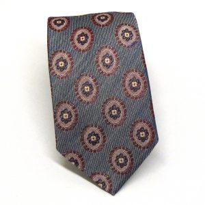 Cravatta seta cotone grigia fioroni viola