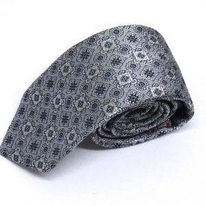 Cravatta seta jacquard grigia