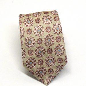 Cravatta seta panna fantasia fiori