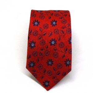 Cravatta seta rossa con fiorellino blu