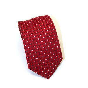 Cravatta seta rossa disegno bianco