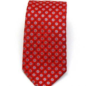 Cravatta seta rossa disegno geometrico