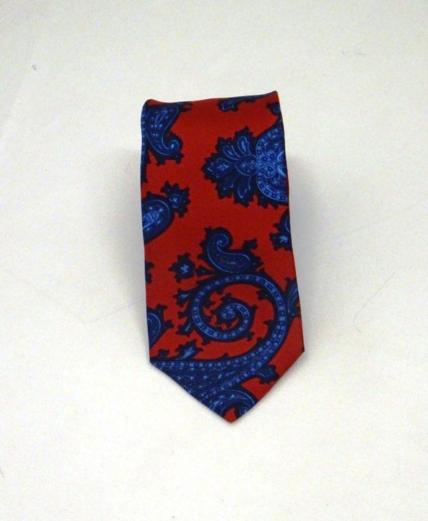 Cravatta seta rosso sc fantasia cashmere blu