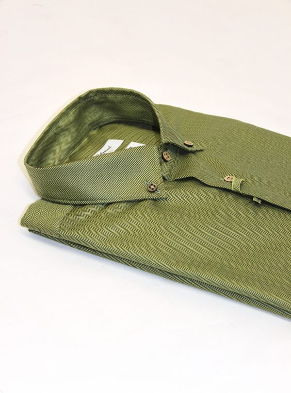 camicia moreal roma_twill spigato verde_green collection