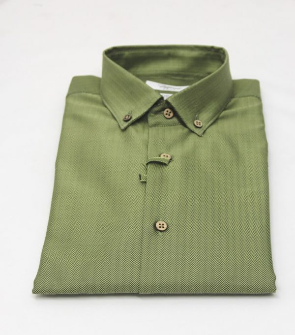 camicia twill spigato verde_green collection_moreal roma