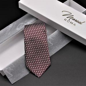 Cravatta seta fantasia bordeaux, grigio perla e nero